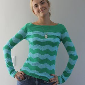 Lilly Pulitzer Ava Chevron Sweater in Blue & Green
